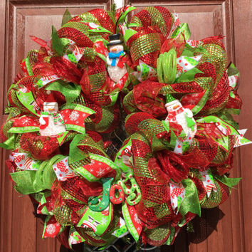 Christmas Wreath - Snowman Wreath Red and Green Deco Mesh Wreath -  Christmas Decor - Xmas - Holiday Wreath