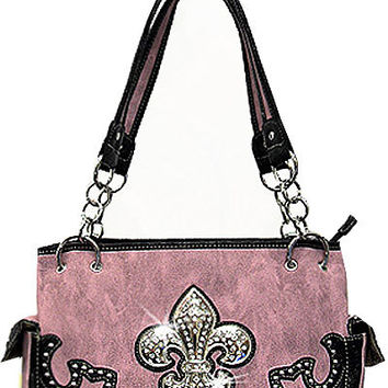 Fleur De Lis Leather Chain Designer Fashion Bling Western Stitch Rhinestone Stud Trendy Pocket Purse Handbag Pink Black