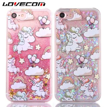 LOVECOM Cartoon Rainbow Unicorn Dynamic Paillette Glitter Stars Liquid Case For iPhone 6 6S 7 Plus 5 5S SE 4 4S PC Cover Coque
