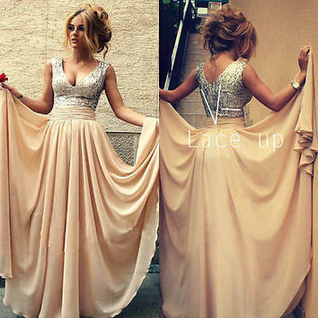 New Long Chiffon Evening Party Ball Gown Prom Bridesmaid Dress Wedding Dress