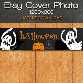 INSTANT DOWNLOAD, Etsy Shop Cover Photo 1200x300, Premade Halloween Fall Design, Ghosts and Spooky Pumpkin, Digital Files, Website Header