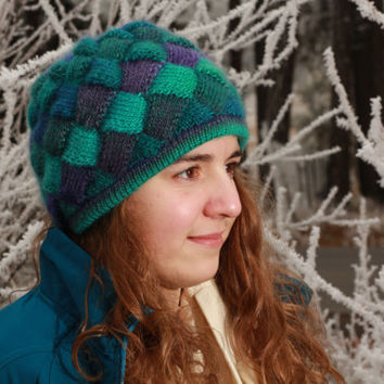 Knitted Entrelac Hat/Cap - Turquoise, purple, green, blue - women - girls - warm- winter- valentines