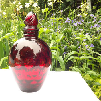 Ruby Red Decanter, Thousand Eye, Bubble Glass, Honeycomb, Large Vintage Vase with Flame Stopper Lid, Wheaton Optic