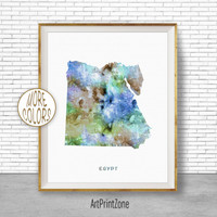 Egypt Art, Watercolor Map, Egypt Map Art, Office Wall Decor, Office Wall Art, Living Room Art, Map Decor, Map Wall Art Print Zone