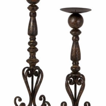 IMAX Rustic & Artistic Darby Candle stands (Set of 2)