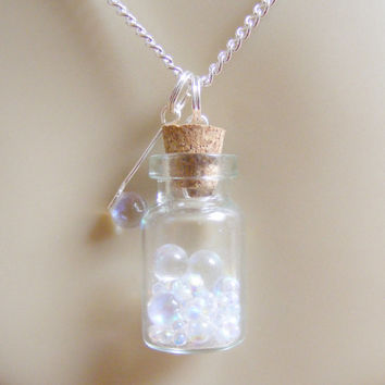 Bubbles and Wand Bottle Necklace  - Miniature Food Jewelry,Miniature Bottle Necklace,Mini Food Jewelry,Bottle Pendant,Food Jewellery,Kawaii
