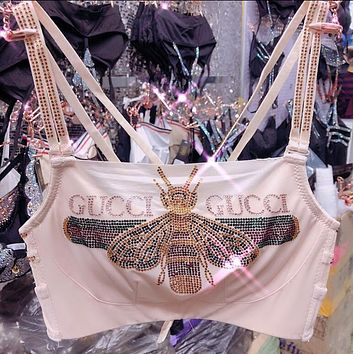 "Hot Sale ""GUCCI"" Summer Popular Women Sexy Shiny Letter Bee Diamond Crystal Pattern Lace Bra Underwear Underpants Top Vest Two Piece White I12331-1"