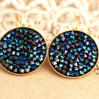 Gold Rhinestone lever back blue green black earrings Swarovski 18k gold plated classic elegant earrings