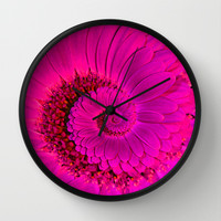 Pink Gerbera Spiral  Wall Clock by Karl Wilson Photography