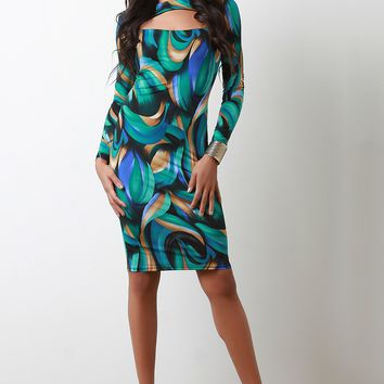 Water Colors Abstract Print Cut Out Midi Dress