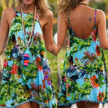 New summer sexy Women printing flowers beach dress -0523