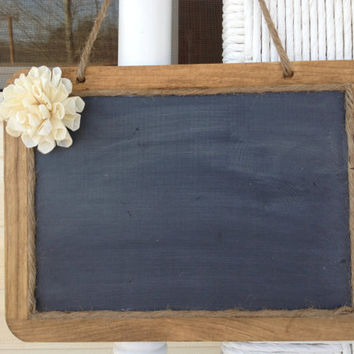 Hanging Framed Shabby Chic Rustic Chalkboard - 7x10 Size Chalkboard - Chalkboard Photo Prop - Rustic Wedding