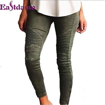 Eastdamo High Elastic Stretch Jeans for Women Black Denim Pencil Pants Casual Slim Pleated Tight Blue Jeans High Waist Trousers