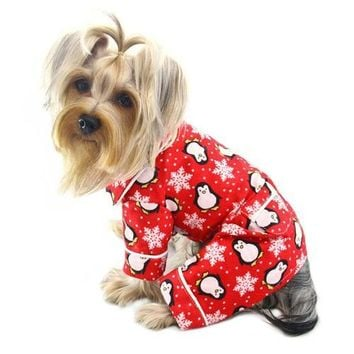 Penguins and Snowflakes Flannel Dog Pajamas - Red