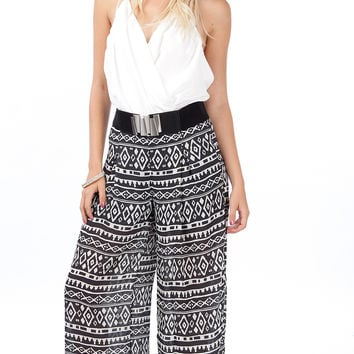 Tribal Pleat Wide Leg Pants