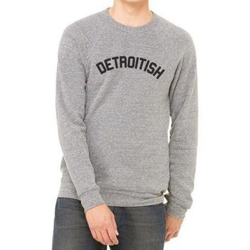DCCKG8Q Ink Detroit Detroitish - Unisex Sponge Crew Neck Sweatshirt - Heather Gray