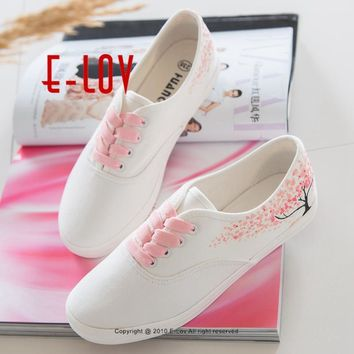 E-LOV Special Pink Leaf Tree Pattern Platform Shoes Design Hand-Painted Canvas Shoes C