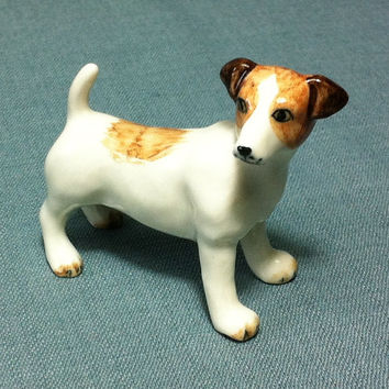Miniature Ceramic Dog Jack Russell Terrier Animal Cute Little Tiny Small Brown White Figurine Statue Decoration Collectible Hand Painted