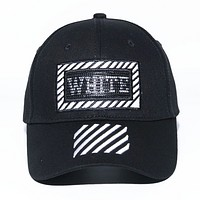 Off White Fashion New Embroidery Letter Stripe Sunscreen Women Men Cap Hat Black