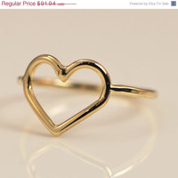 Fathers Day Sale Heart Ring - Yellow Gold Ring - 10kt Gold Ring - Heart Gold Ring - Heart Jewelry