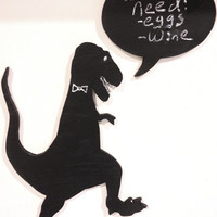 Decorative T-Rex Dinosaur Chalkboard with Speech Bubble - Great for the Kitchen or a Child's Bedroom