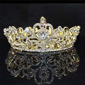 Baroque Vintage Rhinestone Queen King Tiara crown Bride Wedding Headdress Party Banquet Tiaras Crowns hair accessories