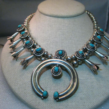 "Sterling Silver Navajo Old Pawn Turquoise Squash Blossom Choker/Necklace, 15.75"", signed A.L. Recenti, 82.20 grams"
