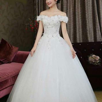 Girl Boat Neck Off the Shoulder Pattern Applique Lace Sequined Back  Wedding Gown