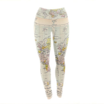 "Catherine Holcombe ""Travel"" World Map Yoga Leggings"