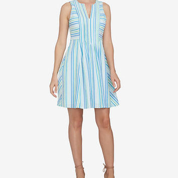 CeCe Striped Fit & Flare Dress | macys.com