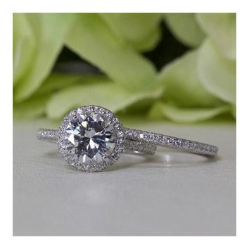 Stunning 2.00 Ct. Halo Round Brilliant Cubic Zirconia Engagement Ring Set In Sterling Silver