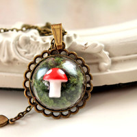 Dainty cute woodland mushroom in moss Necklace