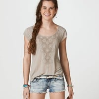 AE Crochet Applique Tee | American Eagle Outfitters
