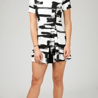 ANGL | Brushstroke Short Sleeve Pleat Mini Dress