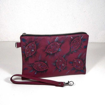 Dark raspberry clutch, leather purse, painted bag, small bag, pouch leather, cosmetic bag, case for accessories, evening bag, little bag,