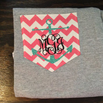 SHORT SLEEVE Anchor Monogram Chevron Pocket by YounInkBoutique