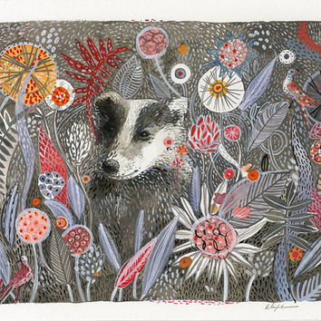 Badger's Dream- Print of original watercolor