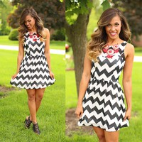 Opposites Attract Chevron Dress
