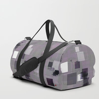 Purple Plum  Square Pattern Duffle Bag by Sheila Wenzel