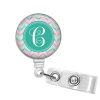 Chevron Colors Monogrammed Retractable Badge Reel