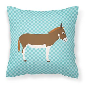 Miniature Mediterranian Donkey Blue Check Fabric Decorative Pillow BB8021PW1414