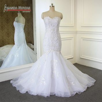 Elegant Simple Mermaid Wedding Dress Back Lace Up Bridal Dress New Lace