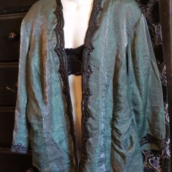 J.R. Nites 24W Plus Size Blazer Dark Green Embellished Beaded Dressy Jacket