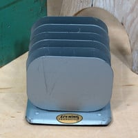 Lit-Ning Metal Small Desk File . Gray Paper Organizer . Letter Mail Sorter . Mid Century Office . Index Recipe Card Holder