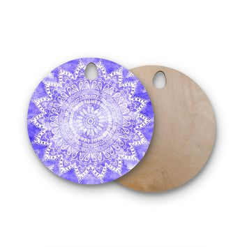 "Nika Martinez ""Boho Flower Mandala in Purple"" Lavender Round Wooden Cutting Board"