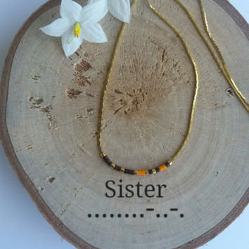 SISTER Morse Code CUSTOM necklace Secret Message.Dainty necklace.Minimalist Personalized.Morse code jewelry. gold silver necklace.MOTHER