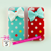 Colorfully polka dot Bow iPhone 5 Bow case,  iPhone case, iphone cover ,iphone 5 cover hard case