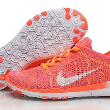 Nike Free TR 5.0 Flyknit Women's Training Shoes Bright Crimson/White