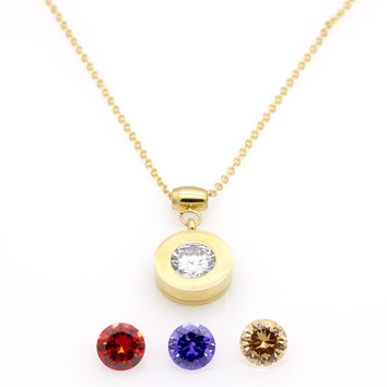 Luxury Brand 4 Stone Gold Plated Women Trendy Interchange Crystal Stone Necklaces Stainless Steel Jewelry Pendant Necklace
