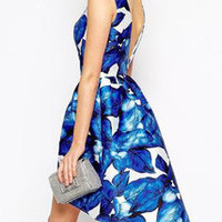 Blue Sleeveless Leaves Print Dress Wedding / Party